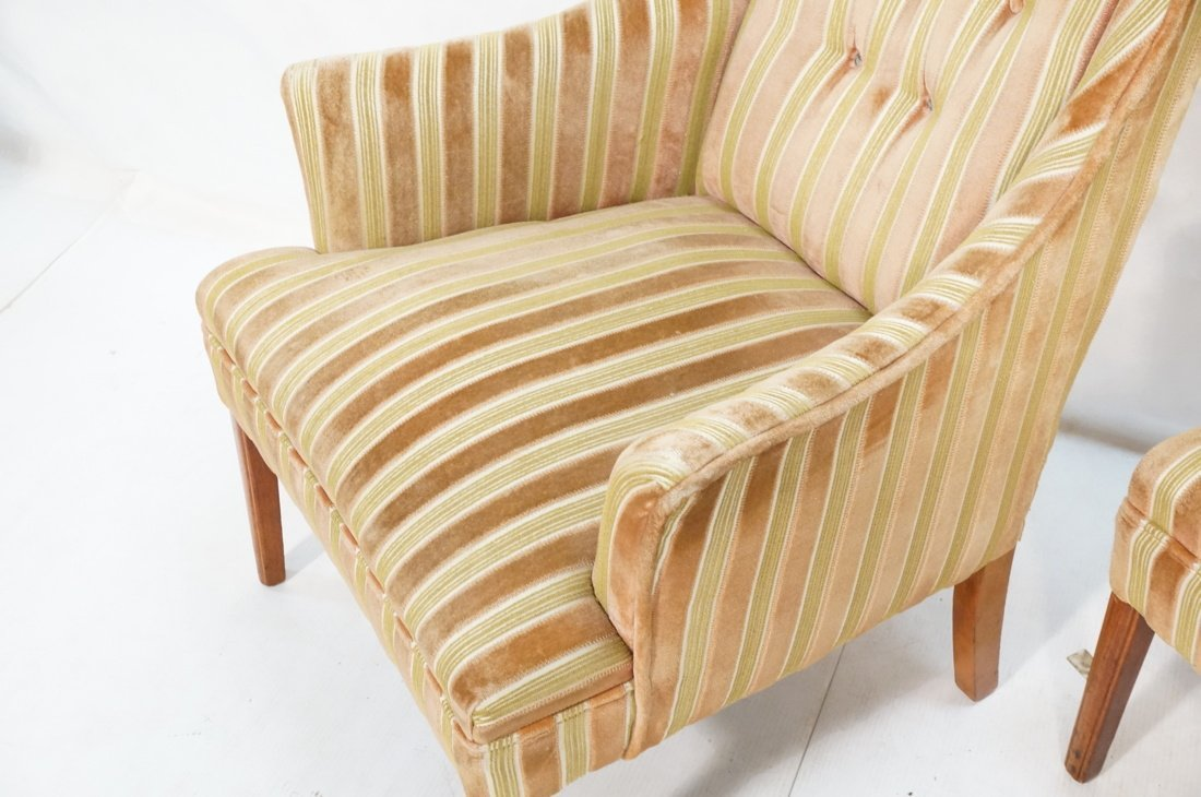 Pr Decorator Fire Side Chairs. Plush peach & gree - 6