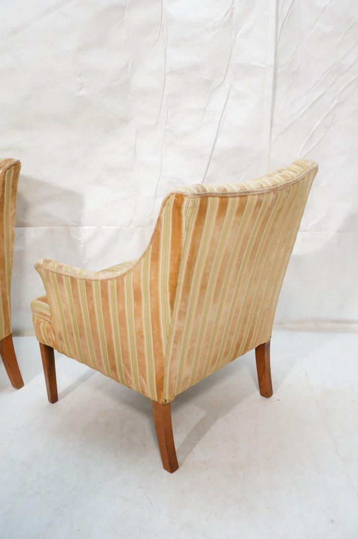 Pr Decorator Fire Side Chairs. Plush peach & gree - 7