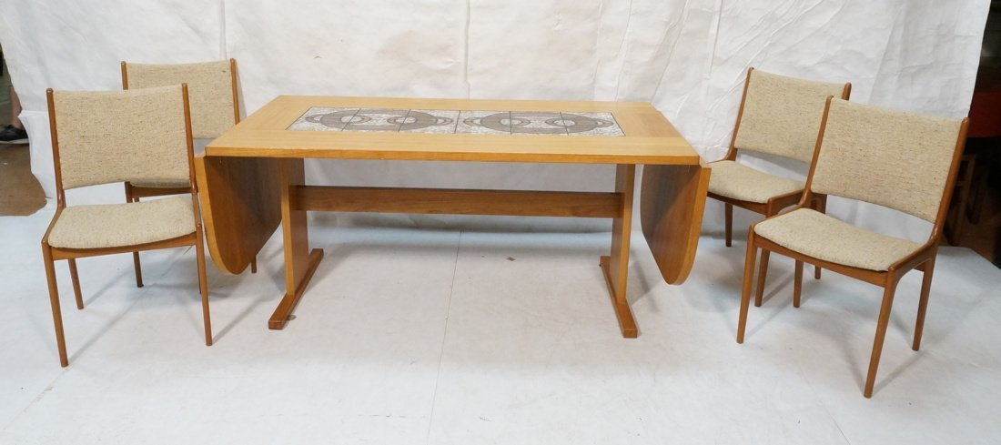 Danish Modern Teak Dining Set. Inset ceramic tile