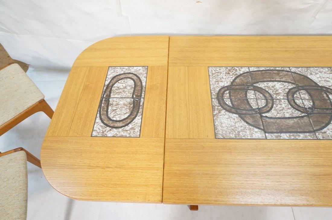 Danish Modern Teak Dining Set. Inset ceramic tile - 8