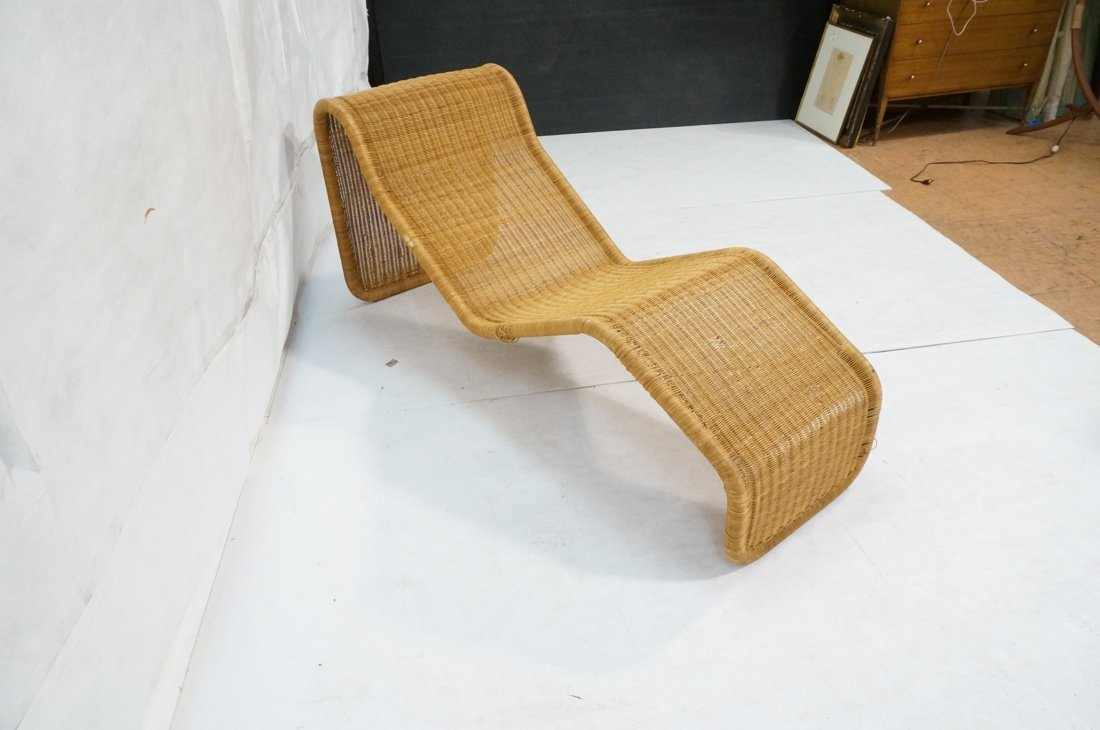 Woven Dark wicker Modernist Chaise Lounge. - 10