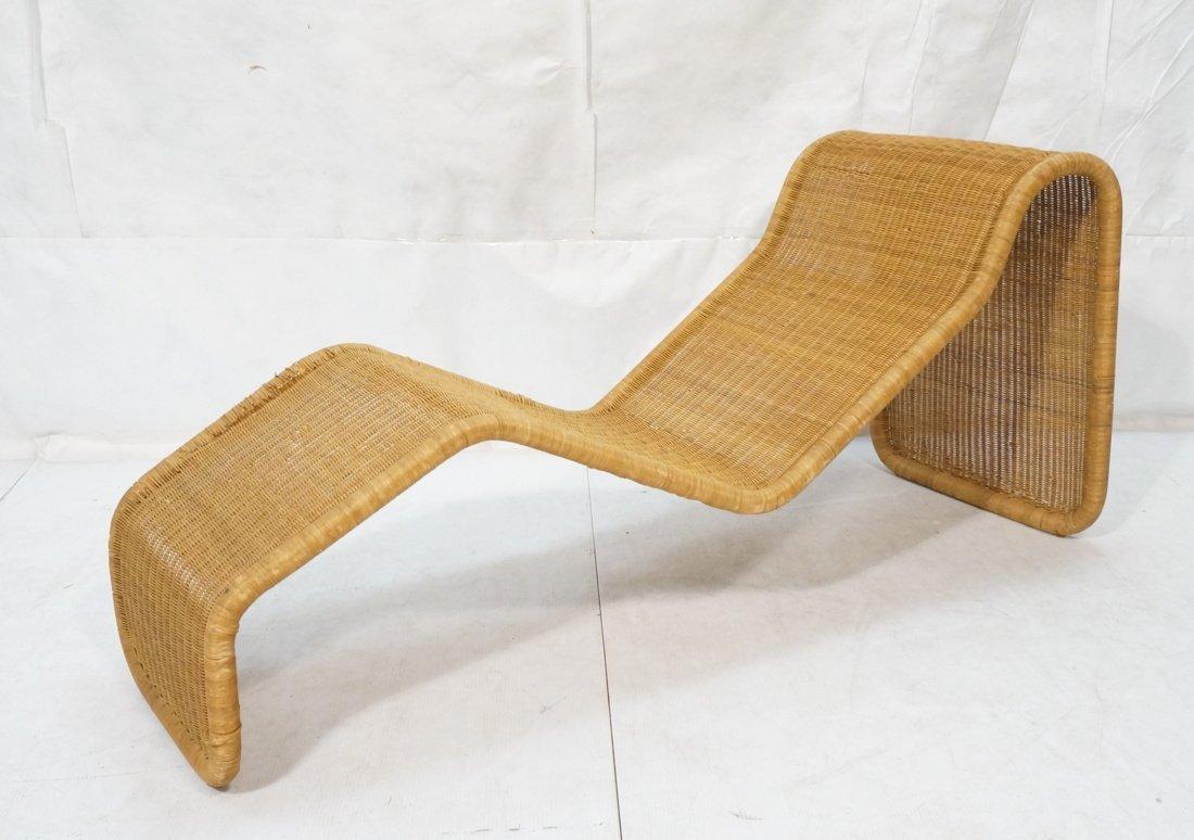 Woven Dark wicker Modernist Chaise Lounge.