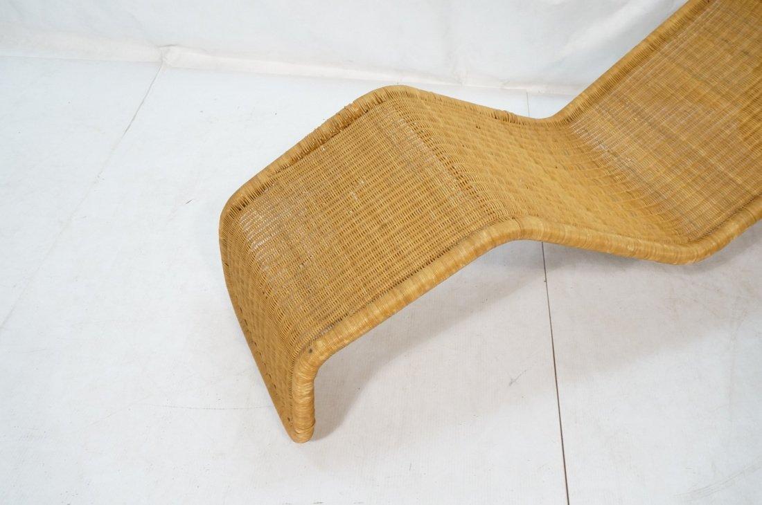 Woven Dark wicker Modernist Chaise Lounge. - 2