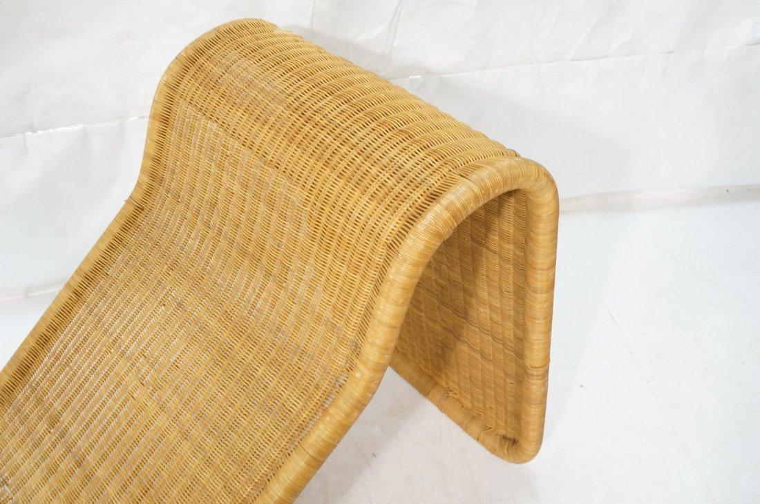 Woven Dark wicker Modernist Chaise Lounge. - 4