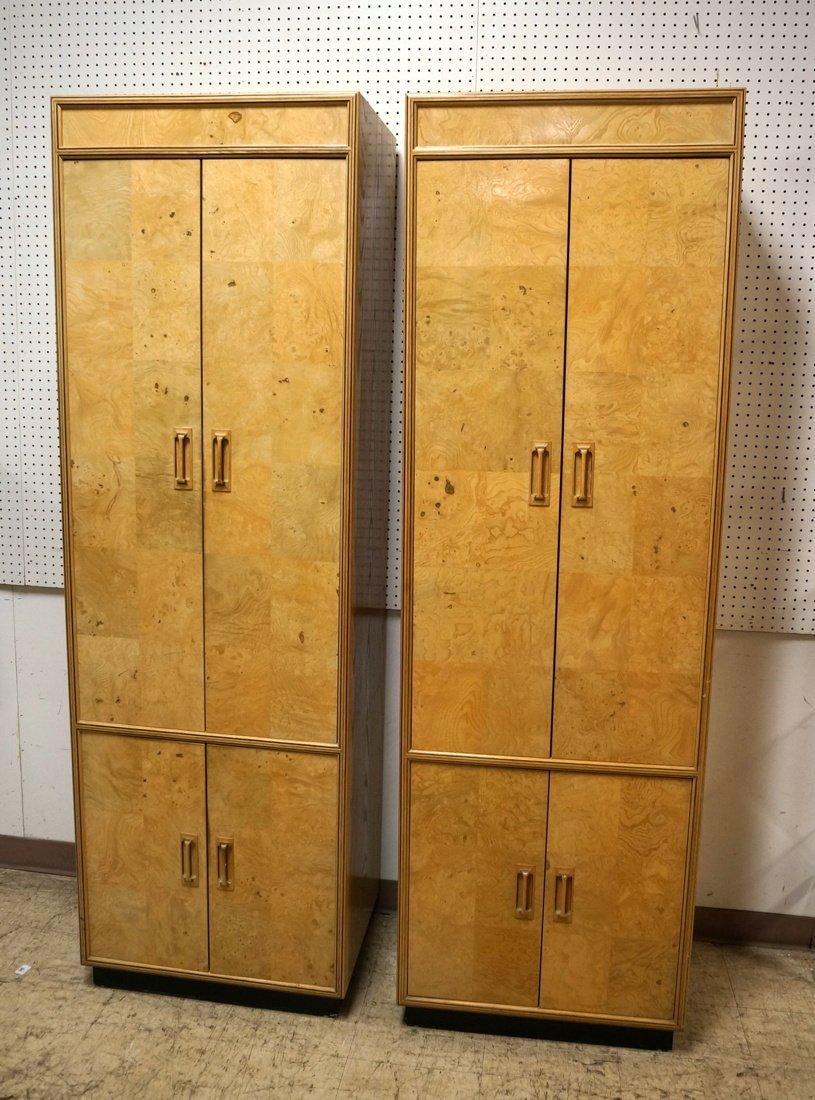 Pr HENREDON Scene II Blond Burl Wood Tall Cabinet