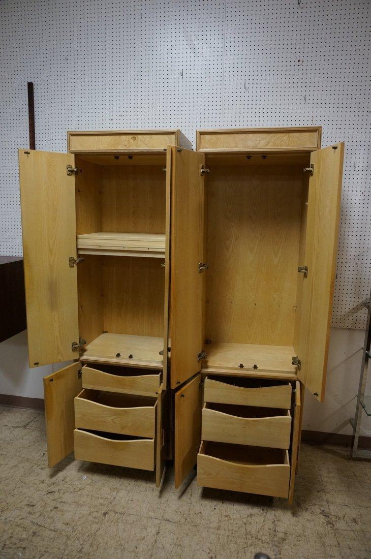 Pr HENREDON Scene II Blond Burl Wood Tall Cabinet - 2