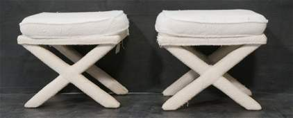 Pr Terry Cloth Billy Baldwin style benches stools