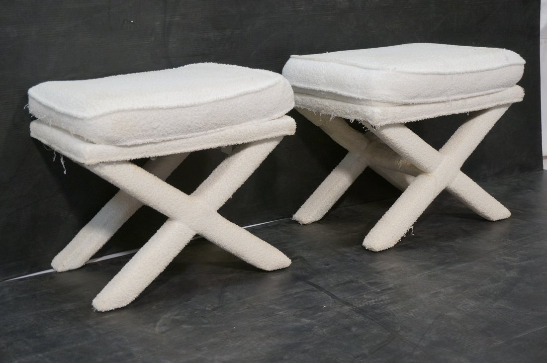 Pr Terry Cloth Billy Baldwin style benches stools - 2