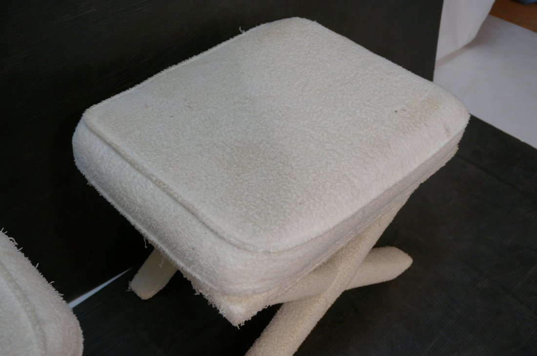 Pr Terry Cloth Billy Baldwin style benches stools - 4