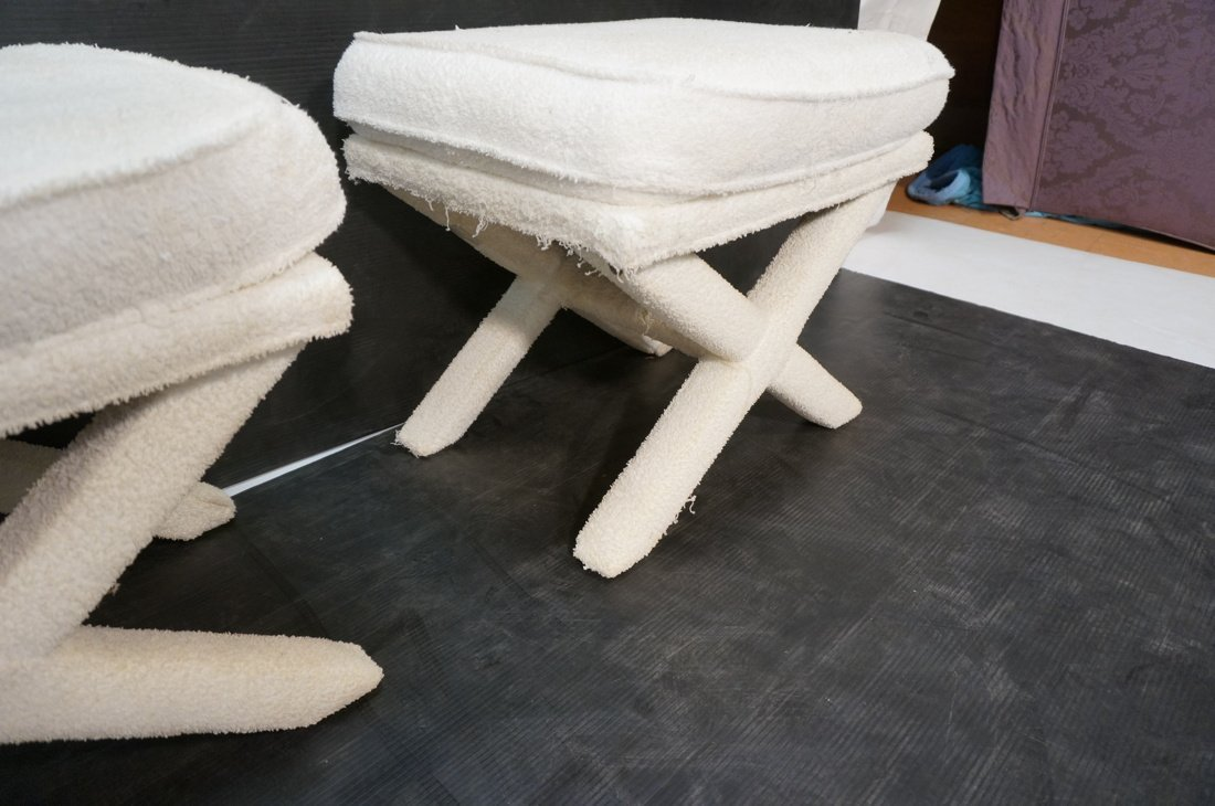 Pr Terry Cloth Billy Baldwin style benches stools - 6