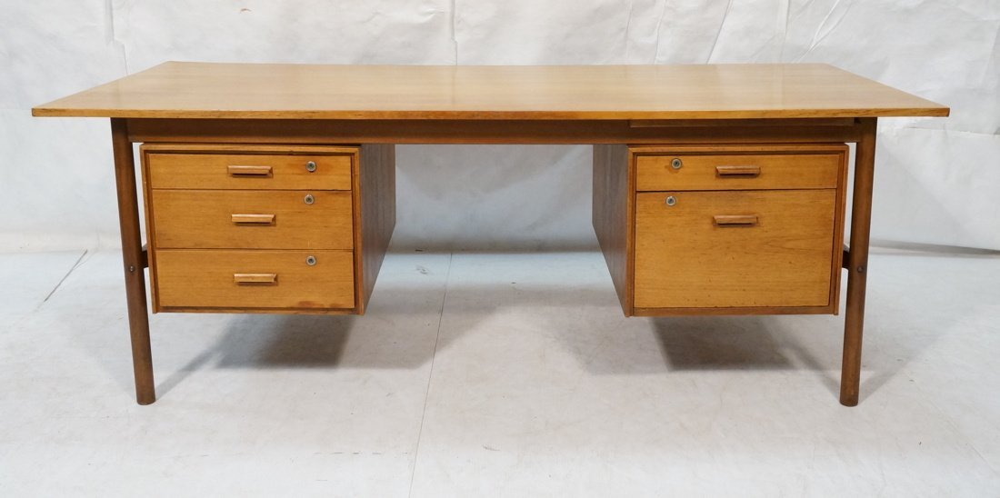 Large Executive 5 drawer Modernist Desk. Teak Dan