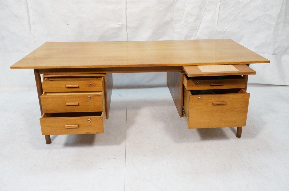 Large Executive 5 drawer Modernist Desk. Teak Dan - 2