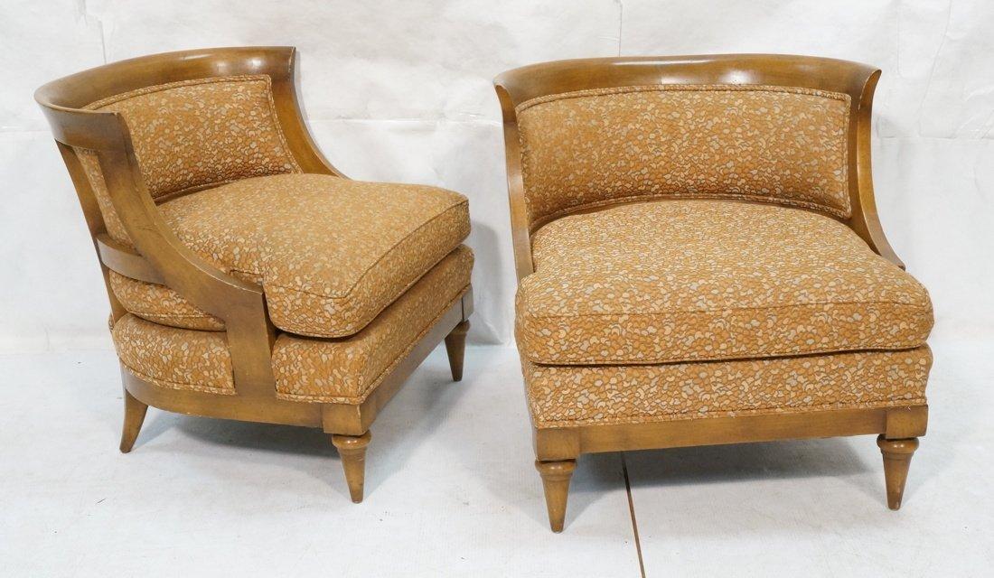Pr Low Lounge Chairs. Bowed backs. Wood frames. P