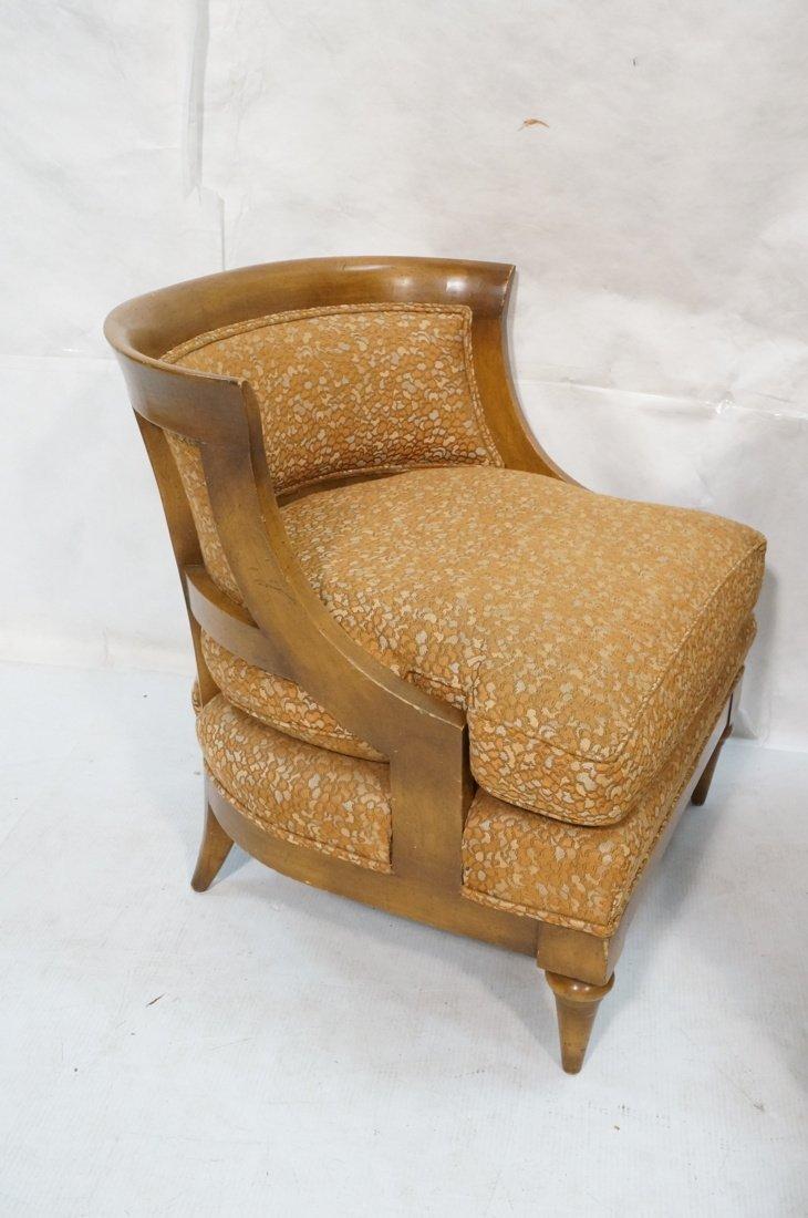 Pr Low Lounge Chairs. Bowed backs. Wood frames. P - 2