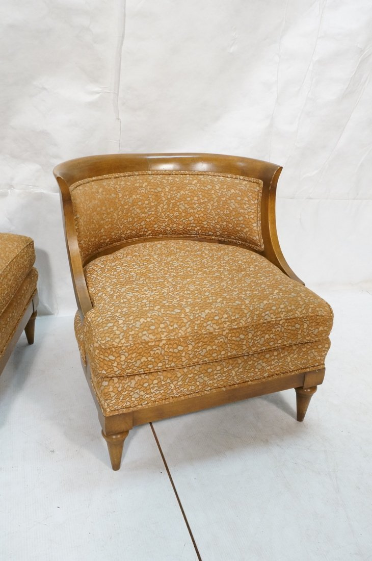 Pr Low Lounge Chairs. Bowed backs. Wood frames. P - 3