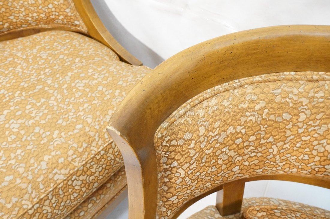Pr Low Lounge Chairs. Bowed backs. Wood frames. P - 6