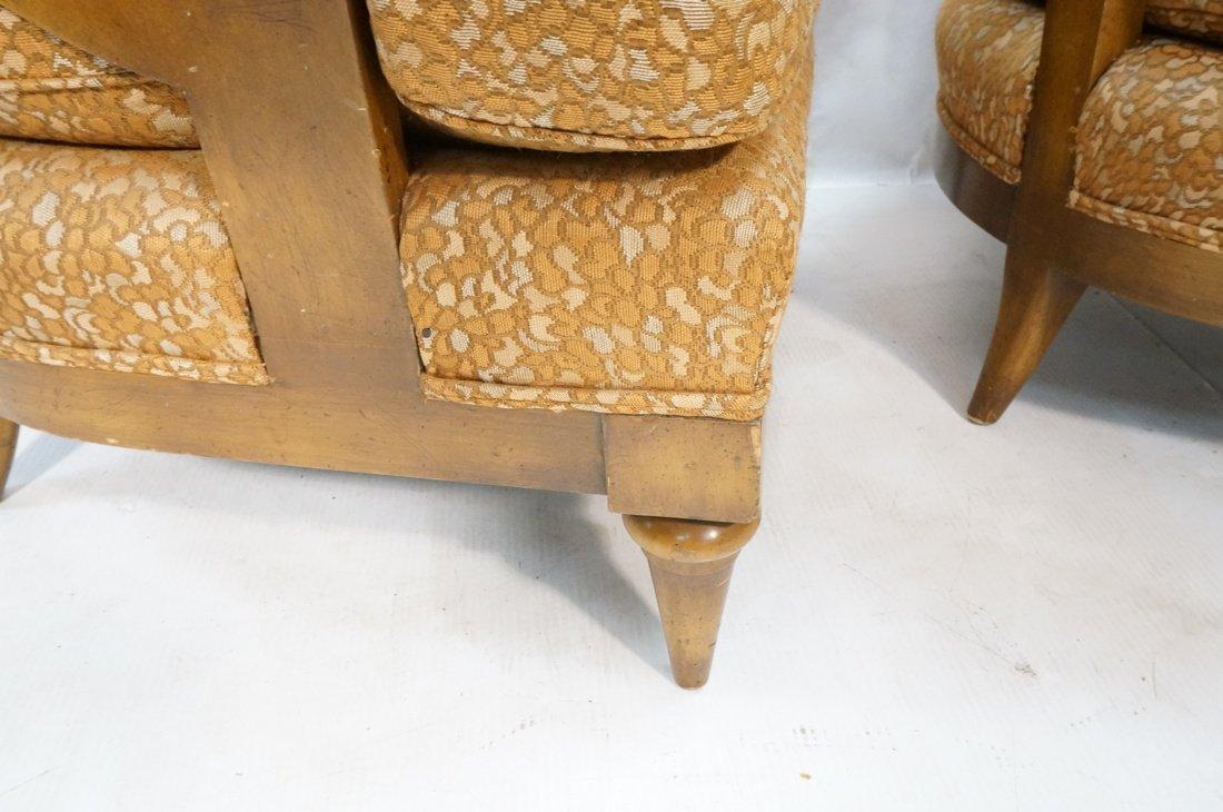 Pr Low Lounge Chairs. Bowed backs. Wood frames. P - 8