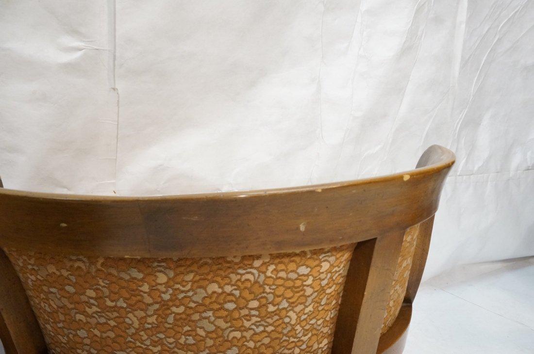 Pr Low Lounge Chairs. Bowed backs. Wood frames. P - 9
