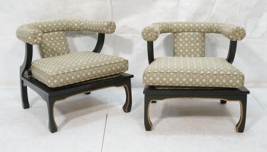 "Pr Decorator ""Horn"" Back Lounge Chairs. Ebonized"