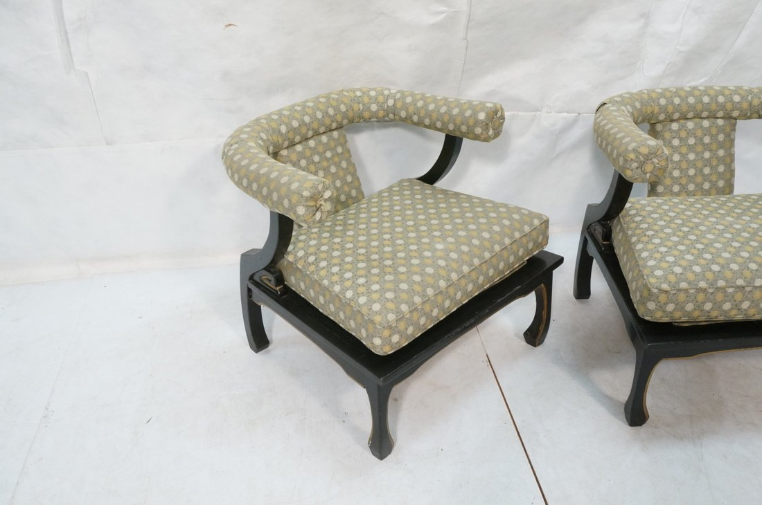 "Pr Decorator ""Horn"" Back Lounge Chairs. Ebonized - 2"