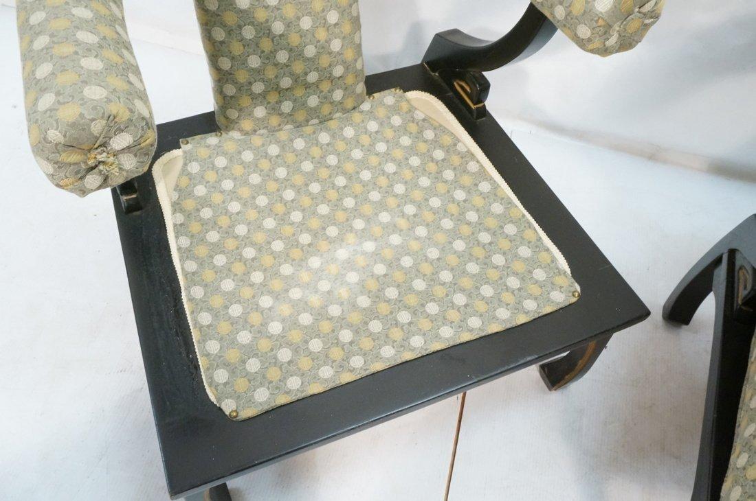 "Pr Decorator ""Horn"" Back Lounge Chairs. Ebonized - 7"