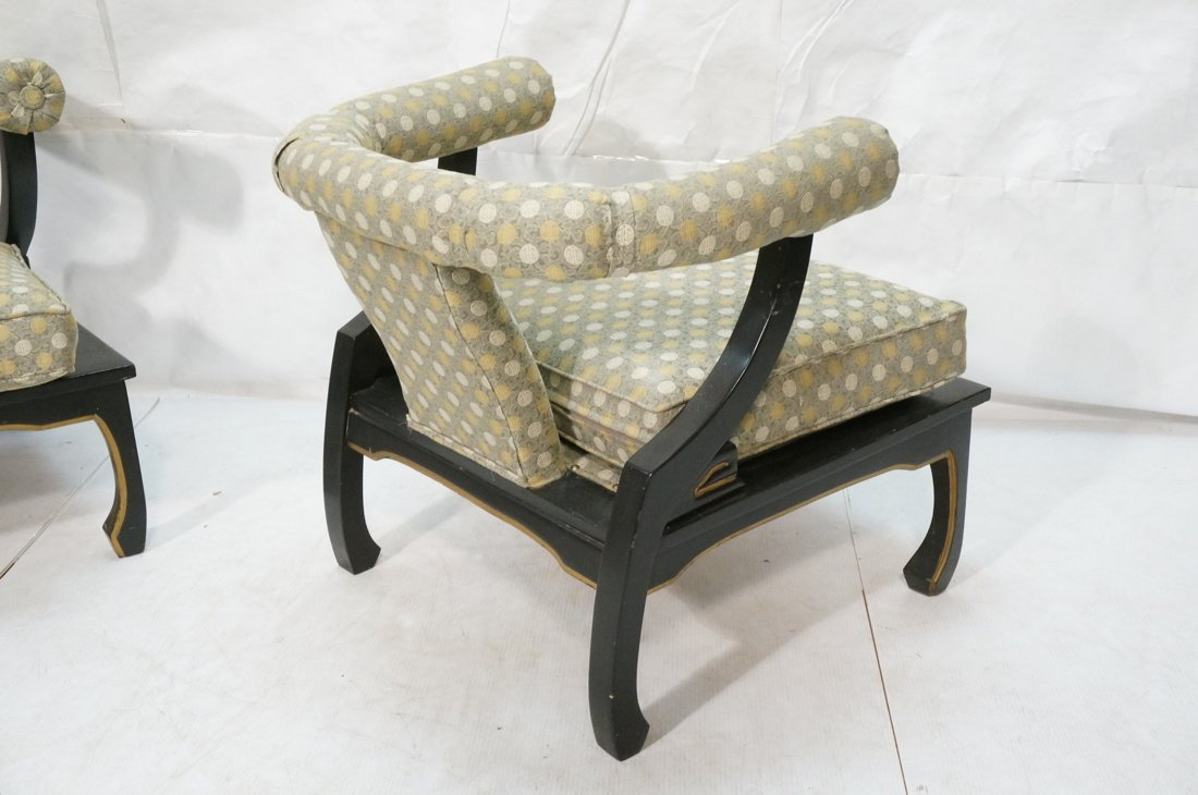 "Pr Decorator ""Horn"" Back Lounge Chairs. Ebonized - 9"