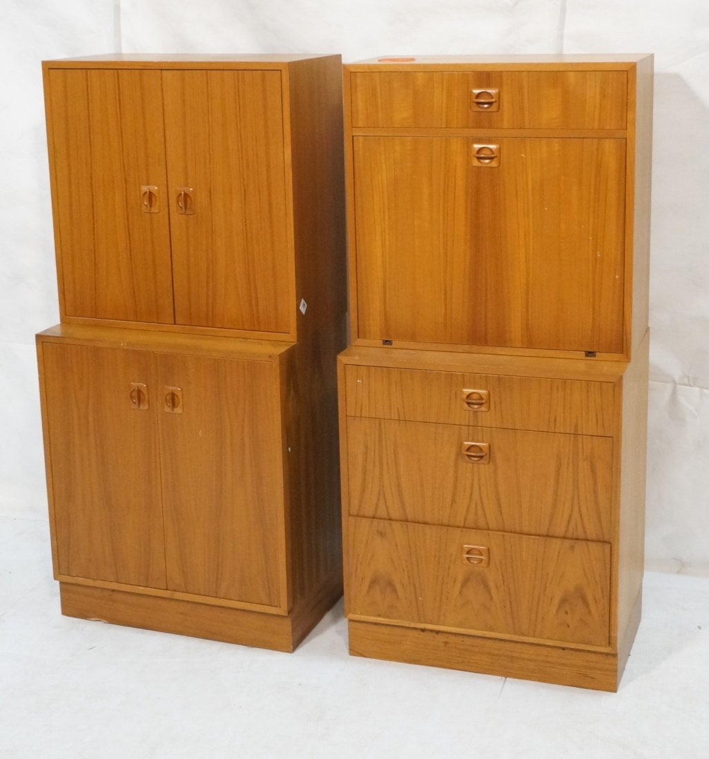 2pcs Danish Modern Teak Cabinets. One with two do