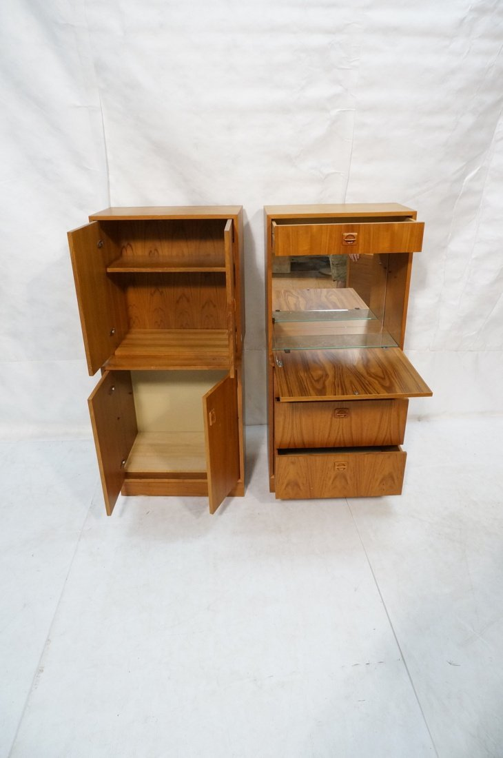 2pcs Danish Modern Teak Cabinets. One with two do - 2