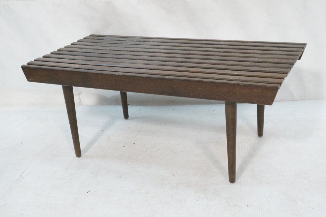 Small Slat Bench Coffee Table. Dark stained wood.