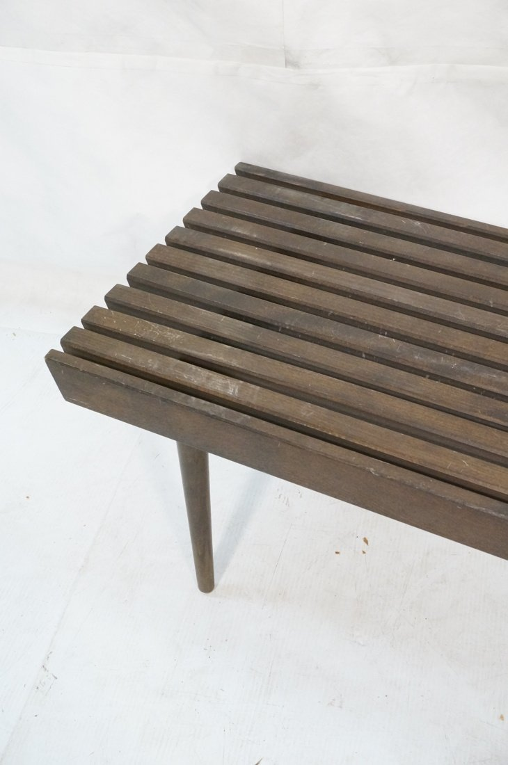 Small Slat Bench Coffee Table. Dark stained wood. - 3