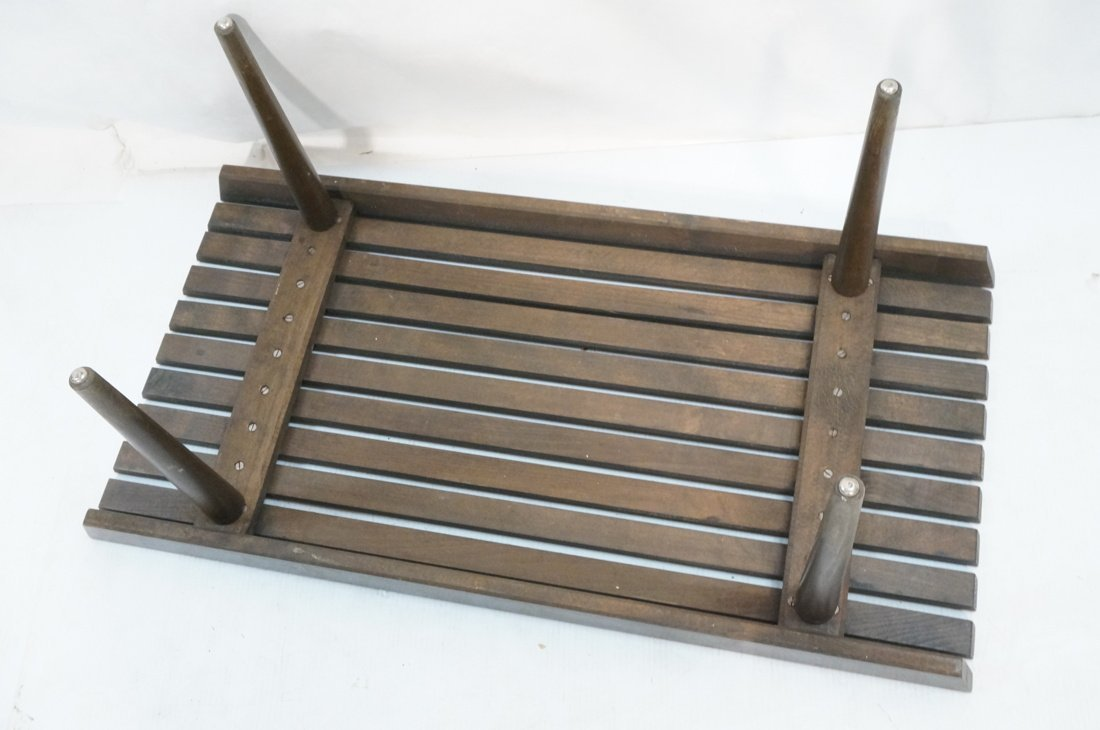 Small Slat Bench Coffee Table. Dark stained wood. - 6