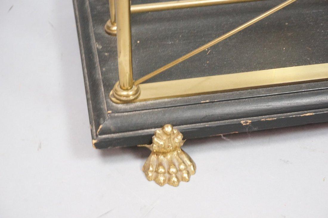 Regency style Brass Magazine Rack. Brass paw feet - 2