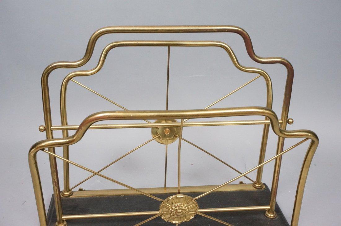 Regency style Brass Magazine Rack. Brass paw feet - 4
