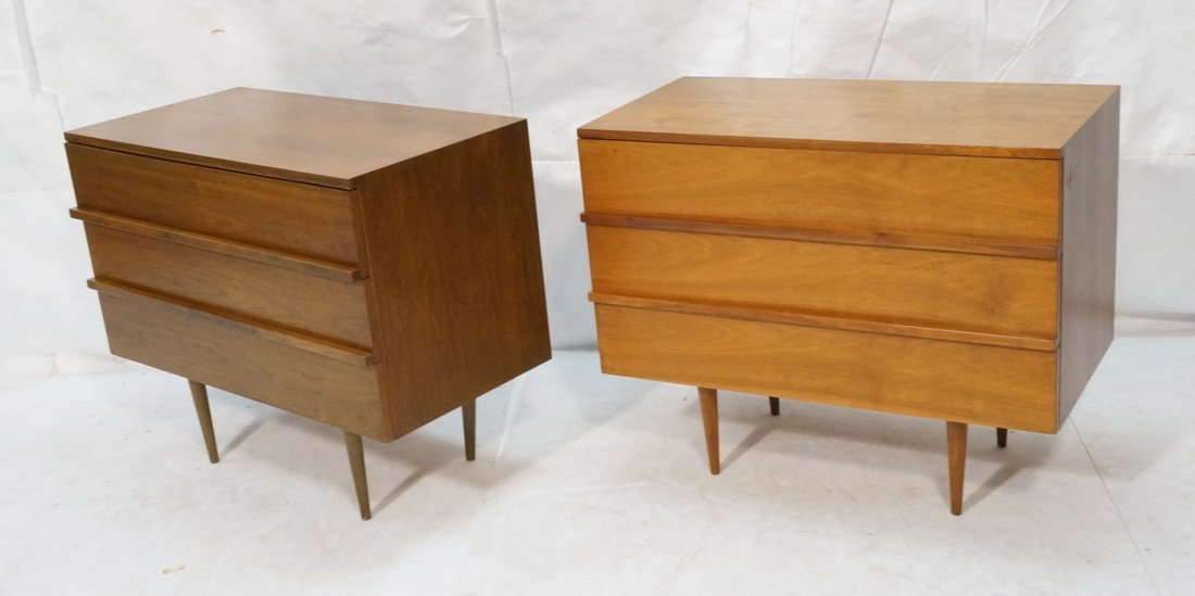 Two Walnut Night Stands. Three Drawers. Tapered s
