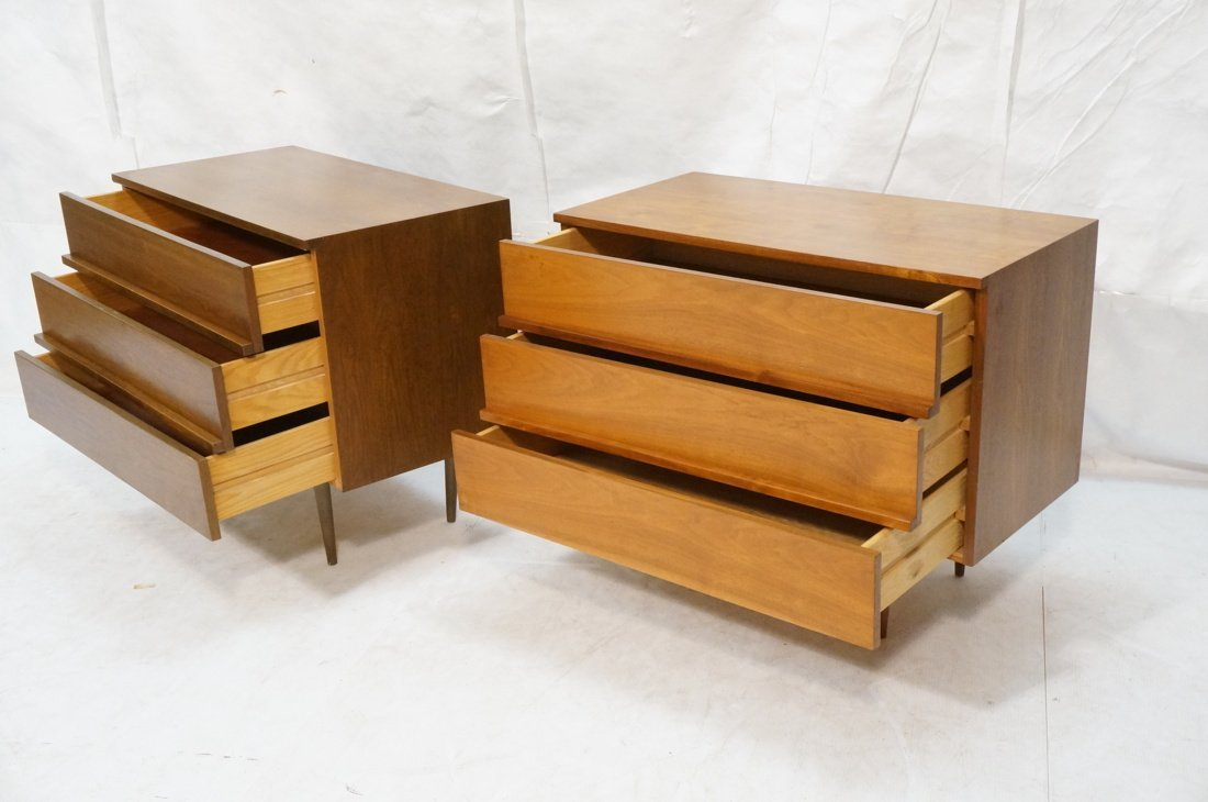 Two Walnut Night Stands. Three Drawers. Tapered s - 2
