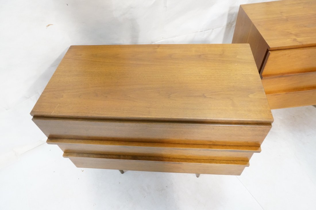 Two Walnut Night Stands. Three Drawers. Tapered s - 4