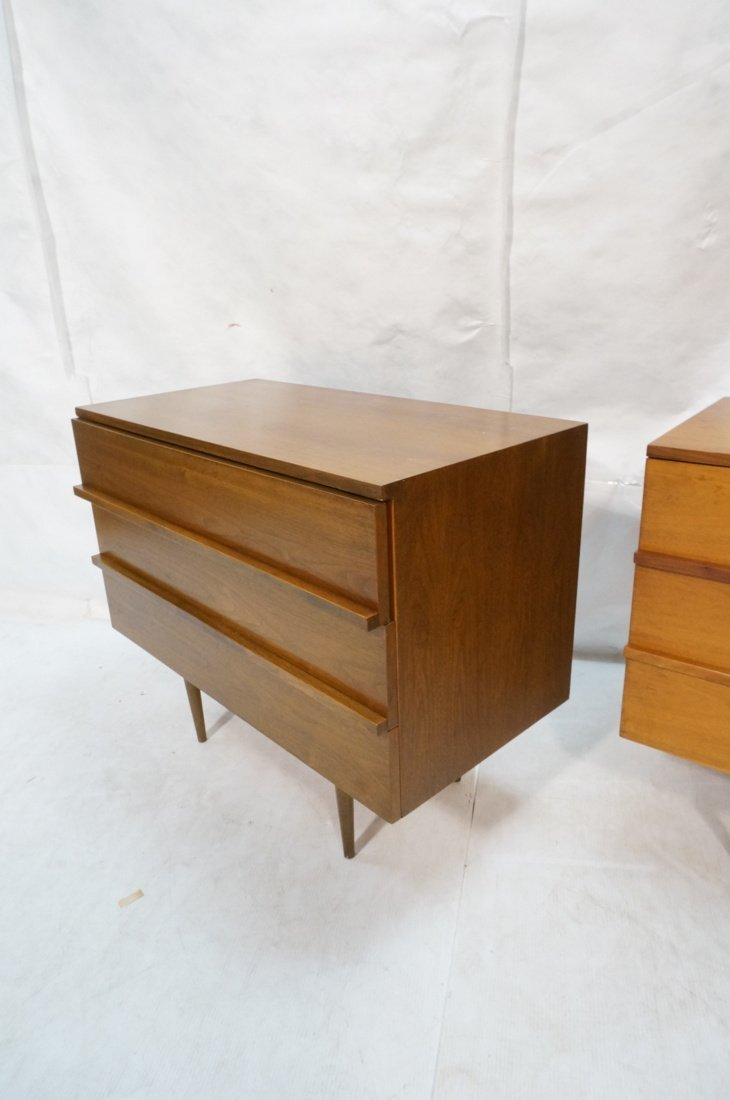 Two Walnut Night Stands. Three Drawers. Tapered s - 5