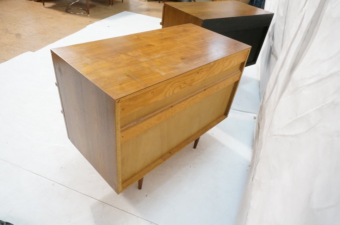 Two Walnut Night Stands. Three Drawers. Tapered s - 7