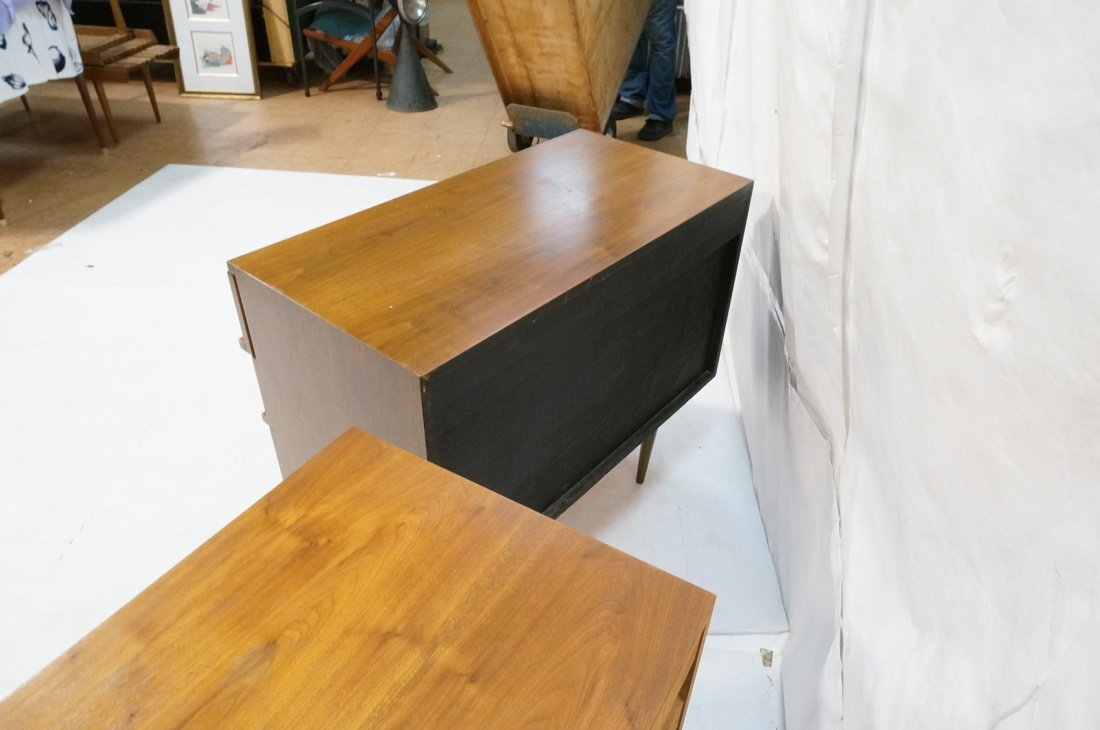 Two Walnut Night Stands. Three Drawers. Tapered s - 8