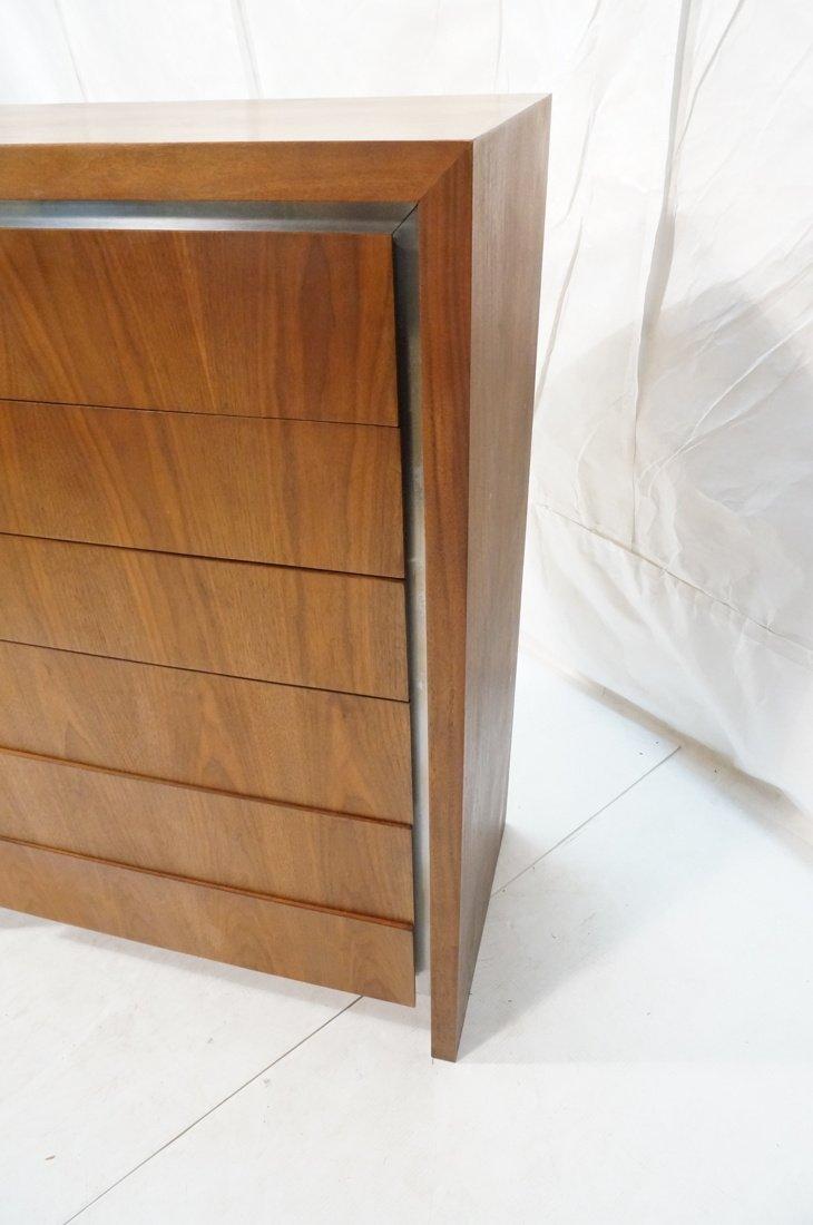 DILLINGHAM Walnut Tall Chest Of Modernist Drawers - 5