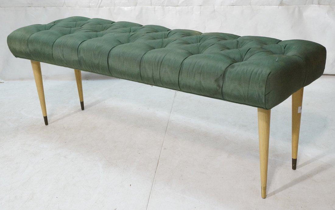 Green Moire Upholstered Blond Tapered Leg Bench.