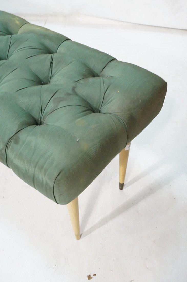 Green Moire Upholstered Blond Tapered Leg Bench. - 2
