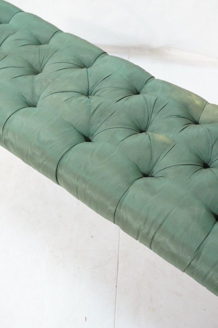 Green Moire Upholstered Blond Tapered Leg Bench. - 3
