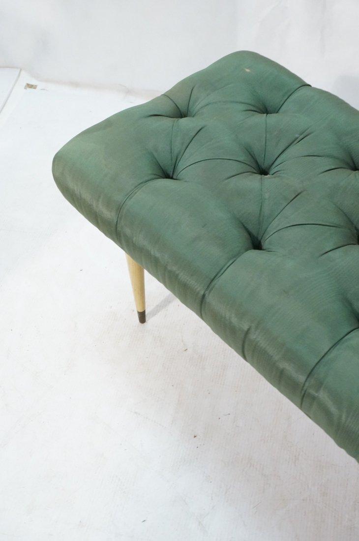 Green Moire Upholstered Blond Tapered Leg Bench. - 4