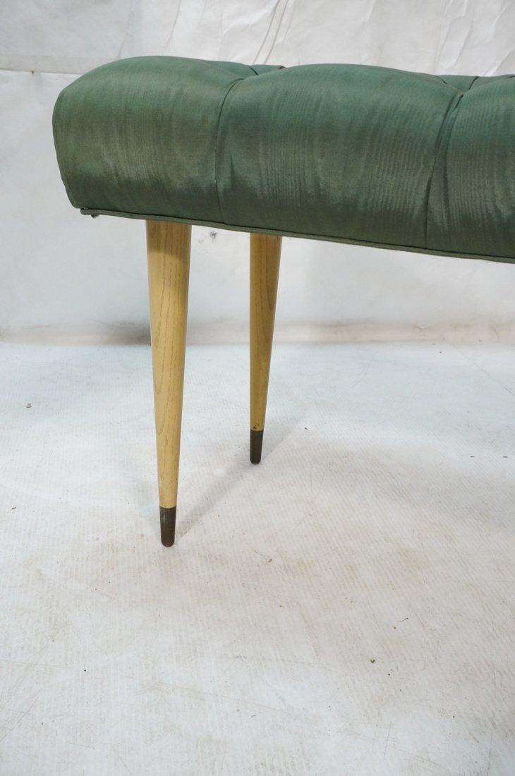 Green Moire Upholstered Blond Tapered Leg Bench. - 5