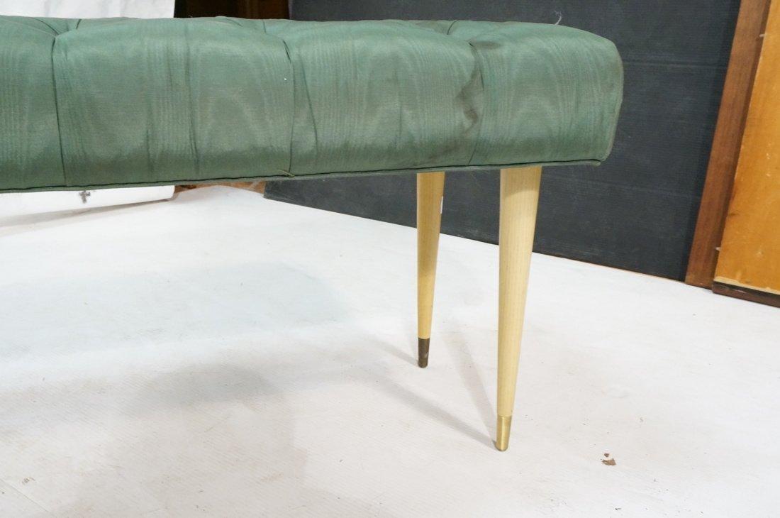 Green Moire Upholstered Blond Tapered Leg Bench. - 6