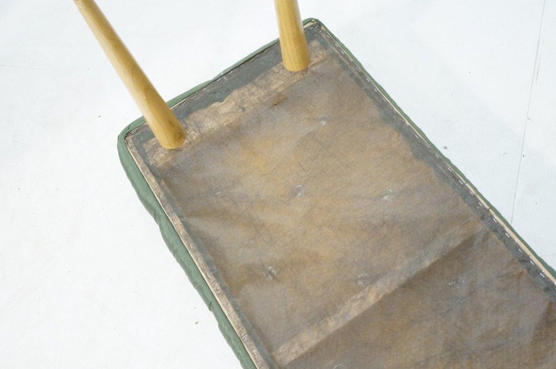 Green Moire Upholstered Blond Tapered Leg Bench. - 7