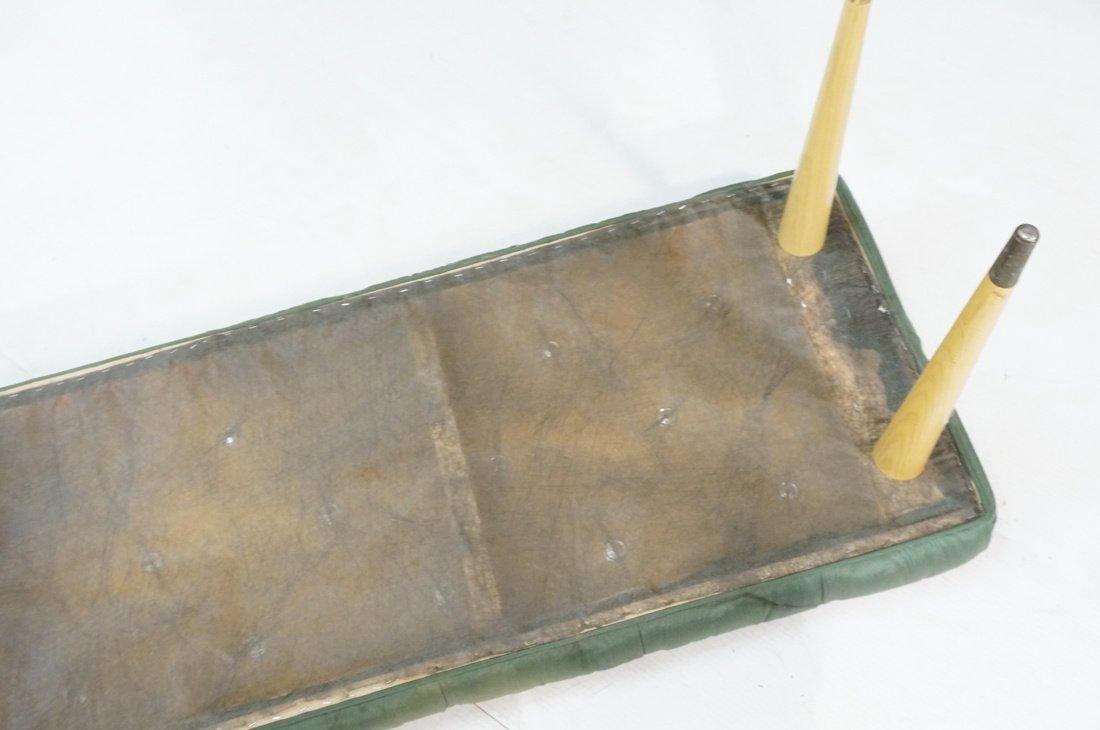 Green Moire Upholstered Blond Tapered Leg Bench. - 8