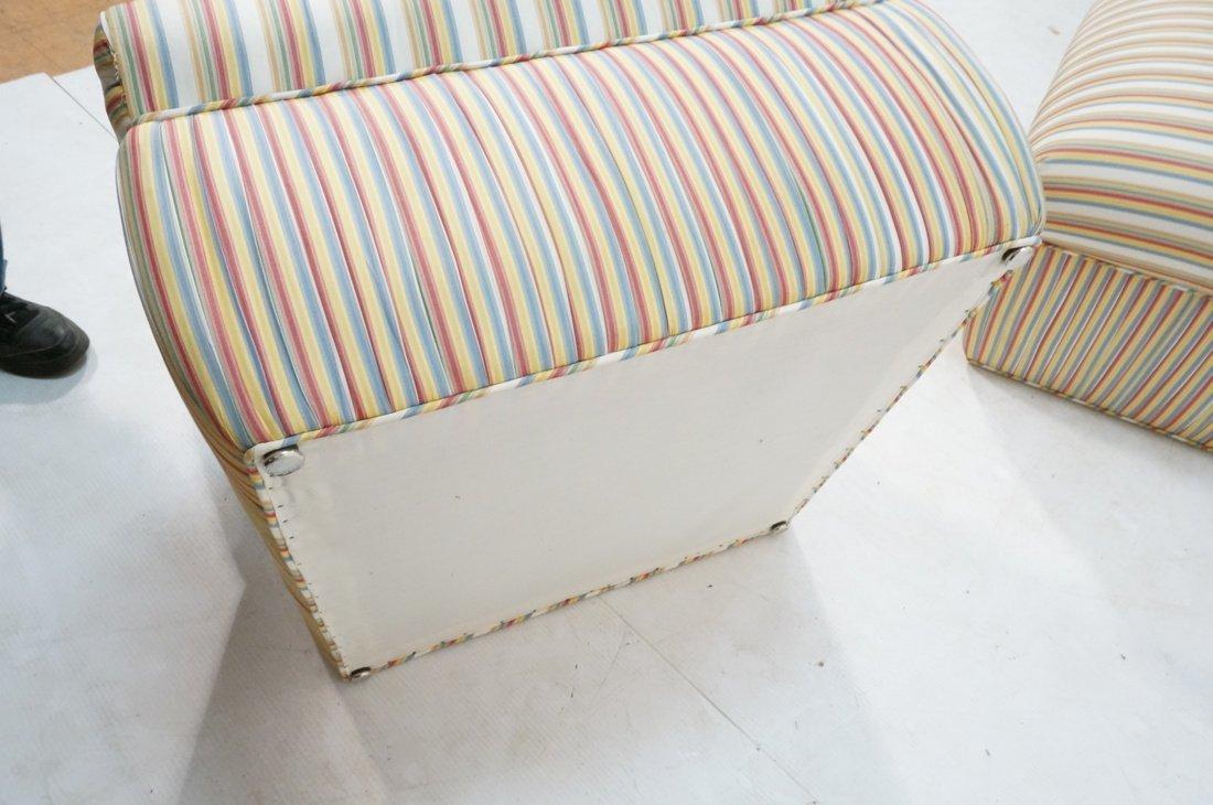 Pr Decorator Striped Fabric Lounge Chairs. Slight - 10
