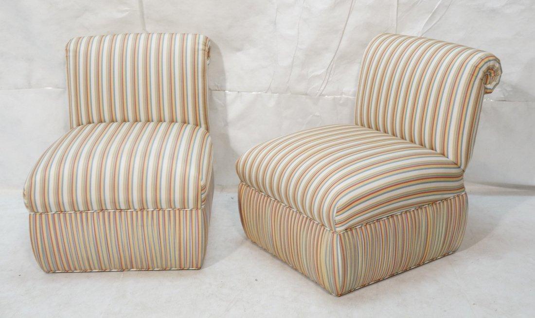 Pr Decorator Striped Fabric Lounge Chairs. Slight